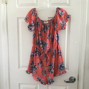 No Comment Coral Floral Ruffle Romper
